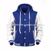 Baseball with hoodie Genuine Leather Varsity Jackets / fashion jacket custom sublimated