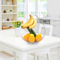 Multi-functional Home kitchen metal vegetable storage basket decorated  stainless steel Bowl fruit basket with banana hanger