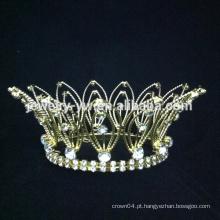 Anel de cristal banhado a ouro redondo Anel de cristal em forma de coroa real para crianças