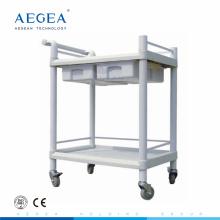 AG-UTB08 Plastic material two layers hospital utility medical nursing trolley