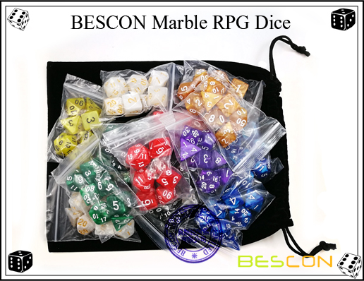 BESCON Marble RPG Dice Set-12