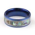 Blue Tungsten Wedding Ring Med Abalone Shell Inlay