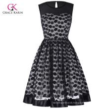 Grace Karin Retro Vintage Sleeveless Mesh Fabric Polka Dots Party Picnic Dress CL010464-1