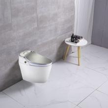 Toilette intelligente montée au sol de couleur argentée d'une seule pièce