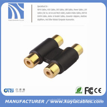 gold plated 2 RCA Phono Audio Stereo Coupler RCA female to RCA female coupler