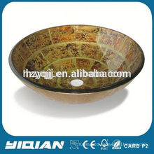 Round Glass Bowl New Design Hand Painting Basins Cheap Used Counter Tops Manufacturers