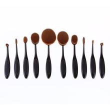 Ovalado negro / rosa de oro maquillaje conjunto de pincel (TOOL-86)