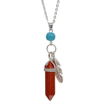 Red Jasper Feather Hexagonal Prism Pendant Choker Necklace