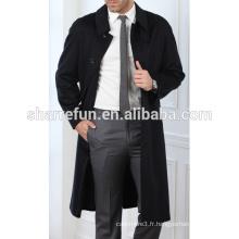 Usine en gros long style hiver 100% pure Cachemire hommes manteaux