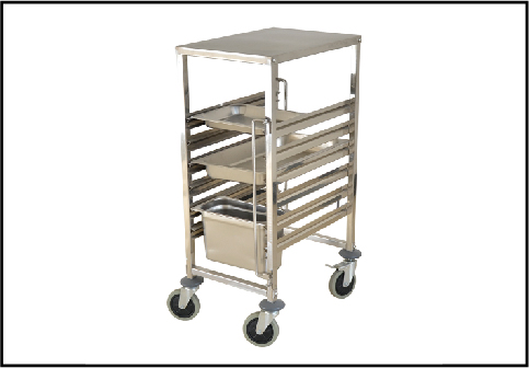Stainless Steel Single-line GN Pan Trolley With Top Board