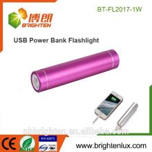 Le moins cher en gros Aluminium Métal 1 * 18650 batterie Promotionnel USB Chargeur de puissance de la banque lampe de poche led mini torche