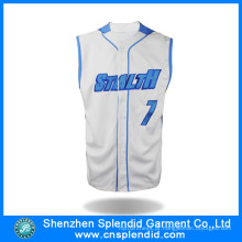 Roupas de Moda Microfiber respirável Mens Baseball Jerseys com Logo Print