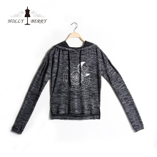 Women Girl Hoodie Fashion Cartoon Full Sleeve Gray Sweatshirt Printed with Moon Solar System