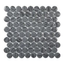 Bigger Penny Round Glass Mosaic Tile Recycle Glass Mix Stone Mosaic