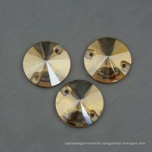 Golden Shadow Round Sew on Stones Beads