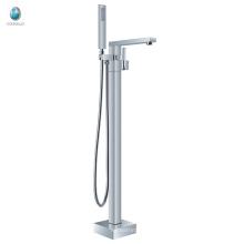 KFT-07 chrome surface treatment free standing bathtub faucet, floor free standing handheld shower bathtub faucet