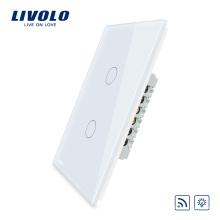 Variateur de lumière à distance sans fil Livolo Wall Touch Électricité 2 gangs 1 voie avec indicateur LED VL-C502DR-11