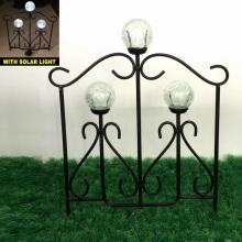 Glass Ball Solar Light Linellae Metal Garden Fence Craft