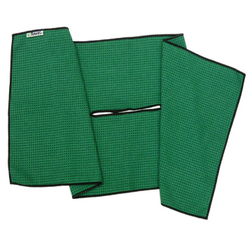 Microfiber Print Embroider Waffle Weave Golf Towel With Custom Logo Glass Sports Gym Hand Kitchen Cleaning