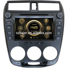 Leitor de dvd do carro de 8 polegadas para Honda City 2012 com GPS, tevê, Bluetooth, 3G, iPod, PIP, jogos, zona dupla, controle de volante