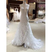 Sirena vestido de novia de la manera de la pluma