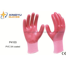 Poliéster Shell PVC 3/4 guantes de trabajo de seguridad recubiertos (P4103)