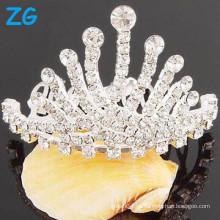 Venta al por mayor cristal tiara corona rhinestone cabello peinado peine pinzas de pelo de lujo de la boda peines