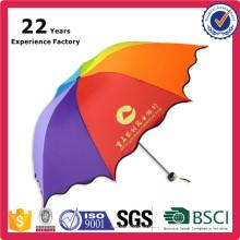 Промо Радуга красочные небольшой складной зонт с логотипом печать