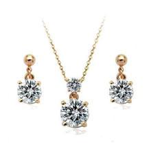 Fine AAA zircon jewelry set 18 carat boucles d'oreille en or et collier bijoux Guangzhou