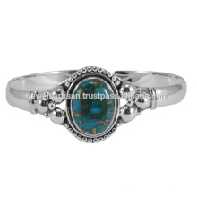 Blue Copper Turquoise Gemstone 925 Sterling Silver Bangle