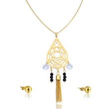 Dubai Rani Haar 24K oro mujeres diamante conjunto de joyas zirconia borla collar