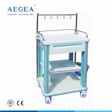 AG-IT006B1 ABS material hospital médica móvil utilidad carros con caja de almacenamiento