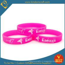 2014 Grossiste en silicone imprimé bracelet et bracelets avec une couleur solide (KD-1801)