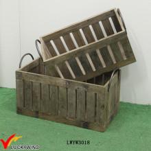 Винтажная деревянная корзина для инструмента с металлическими ручками