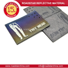 Man jeans reflective leather label