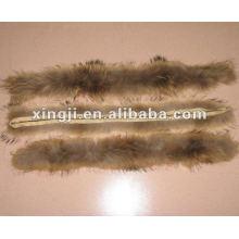 color natural 4 * 80 cm para el recorte de la piel del mapache de la capucha de la chaqueta