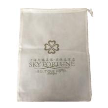 White logo printed non woven hotel laundry bag