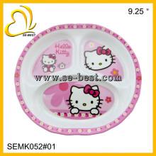 3 sections melamine plate for kids, melamine children plate