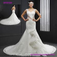 Sexy con espalda abierta de encaje con cuentas una línea con vestido blanco hermoso vestido de boda