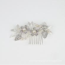 Handmade pearl crystal flower  headpiece bridal hair comb wedding hair  accessories