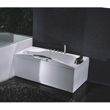 Corner Drainage Skirted Whirlpool Bath Tub with Massage System with Handle