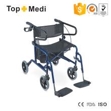 Topmedi Leichter Rollstuhl 4 Rad faltbarer Rollator Walker