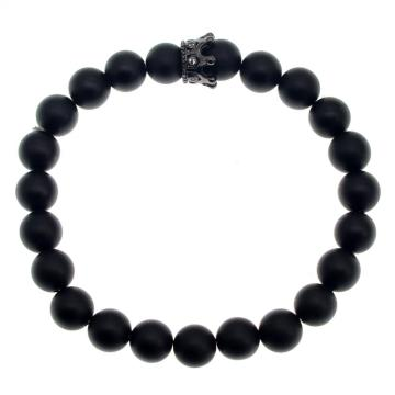 Matte Agate Black CZ Crown King Bracelet For Men Fashion