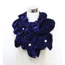 Женщина мода полиэстер бархат шарф с акриловые алмазов (YKY4384A)