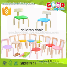 Top quality candy color wooden preschool children chairs