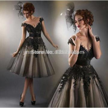 Black Prom Dresses Long 2017 Free Shipping evening gowns A LIne with Appliques