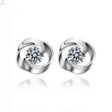 Women Statement Rose Flower Design Wedding Stud 925 Sterling Silver Earrings