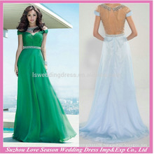 HE10097 wholesale women clothes evening women formal short sleeves gown elegant green beaded modern evening long dress