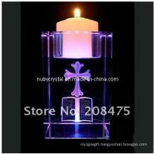Engraved Purple Crystal Cube Tealight Holder