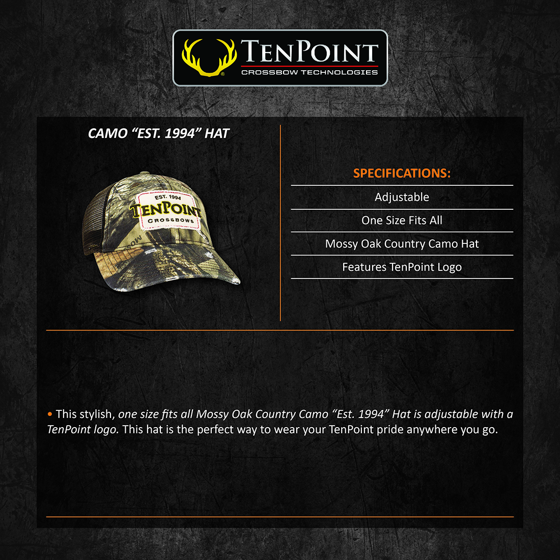 TenPoint_Camo_Est_1994_Hat_Product_Description